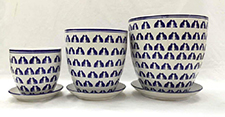 Blue/White Cats pot & saucer